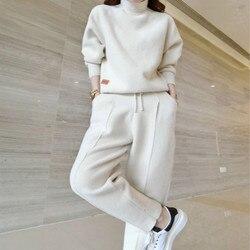 Costume femme 2020 automne et hiver nouvelle mode double face cachemire carotte pantalon costume femmes décontracté tricot deux pièces