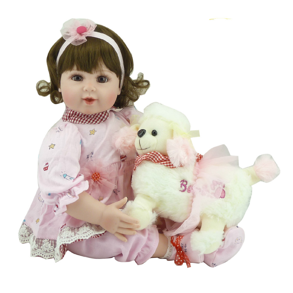 Handmade Reborn Baby Doll 20 Inch Silicone Baby Girl Smiling Newborn Dolls Girls Play House Toys Kids Birthday Xmas Gift handmade 22 inch newborn baby girl doll lifelike reborn silicone baby dolls wearing pink dress kids birthday xmas gift