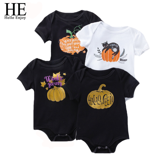 50ae3eb86482 HE Hello Enjoy Baby Girl Rompers Halloween Party Costumes Baby Clothes  Jumpsuit Toddler Boy Black White Print Overalls 0-24M