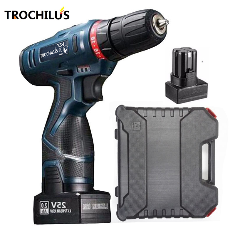 25V cordless Screwdriver Multifunction Power Tool Rechargeable  Screwdriver with Lithium Battery * 2 Household toolbox 2000mah rechargeable lithium battery pack for nds lite with screwdriver