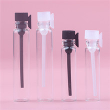 2Colors 50PCS 1ml 2ML Glass Vials Mini Empty Laboratory Sample Bottle With Plastic Stopper Clear Perfume Liquid Oil Fragrance