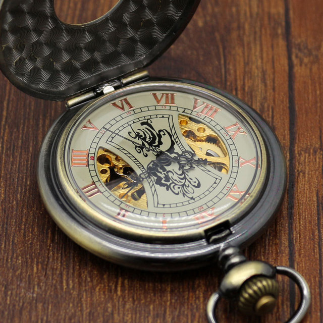 Steampunk Bronze Copper Mechanical Pocket Watch Skeleton Chain Roman Numbers Vintage Pendant Watches with 30cm Chain Gifts P839C