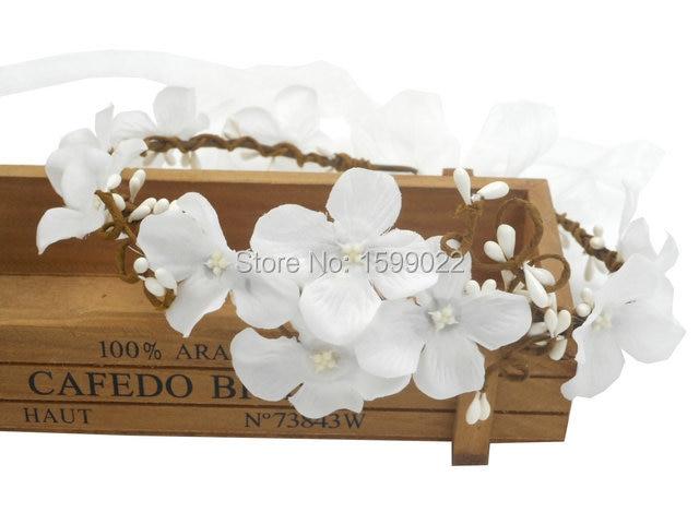 CORONA di fiori Ghirlanda Fiori Bambini Ragazza Fiori blu matrimonio vintage 70
