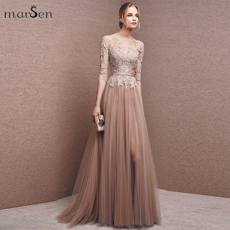 Sexy Side Split Prom Dress Lace Applique Pleated Formal Evening