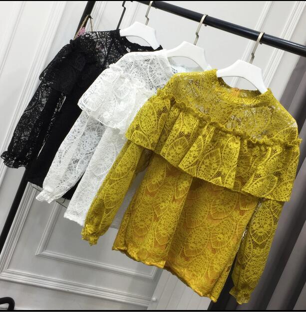 Весна Осень Женская сексуальность блузка свободные мило корейский кружева марли лоскутное рябить о-образным вырезом с длинными рукавами основной рубашка лучших