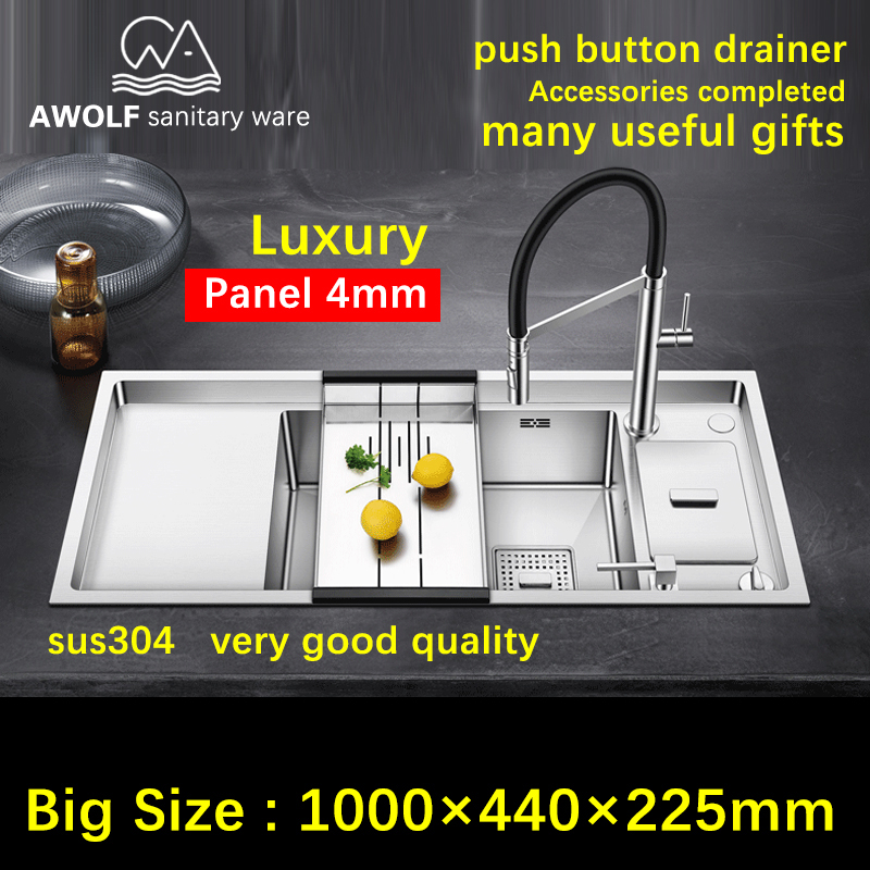 Luxury Kitchen Sinks Panel 4mm Single Bowl Sink With Many Useful Gifts Stainless Steel Big Durable