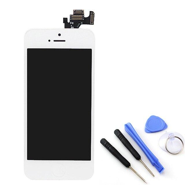 Branco display lcd de toque digitador da tela para iphone 5 com a Montagem do quadro + botão Home + Câmera Frontal + Ferramentas, frete Grátis