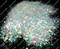 """500gram-1.5MM(1/16"""")060 White Color with Colorful Tints Shining Nail Glitter Hexagon Shape for Nail Art Decoration&Glitter Craft"""