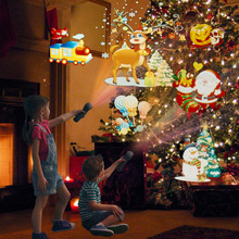 33PCS Slides Christmas Projector Laser Lights Flash Light Lamp  For Easter Birthday Party Holiday Xmas Decoration with 18650