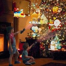 Diapositive proiettore di natale luci Laser lampada a luce Flash per la festa di compleanno di pasqua decorazione natalizia con 18650