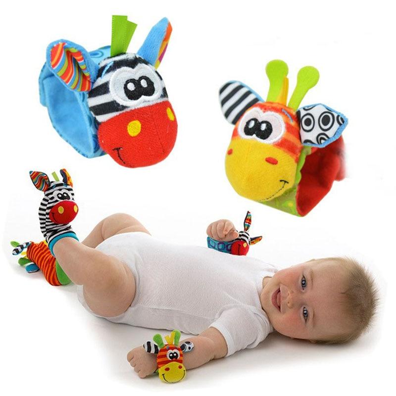 2017 Lowest price(4pcs/lot=2 pcs waist+2 pcs socks) New Hot Toy Baby Rattle toy Rattle Foot Socks Cute Anima Wrist W0031 2 pcs lot