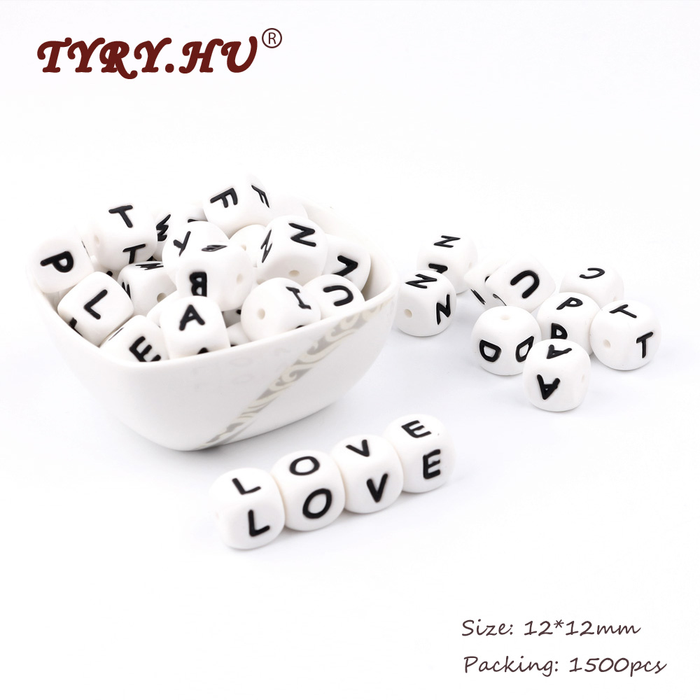 TYRY HU BPA Free Silicone Beads English Alphabet Food Grade Silicone Letter Baby Teethers Baby Tooth