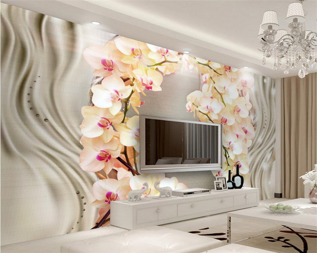 beibehang photo murale papier peint en soie orchid e fleur salon tv mur mur d coratif papier. Black Bedroom Furniture Sets. Home Design Ideas
