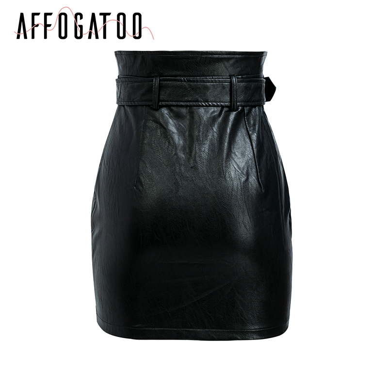 Affogatoo High waist pu leather skirts women Sash zipper pencil mini skirt 18 Autumn streetwear winter black skirts short 16