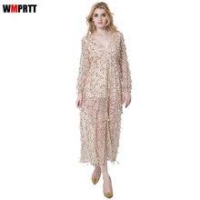 Фотография WMPRTT 2017 new fashion Autumn Winter empire women v neck dresses star party sexy dress Women long sleeve slim dress