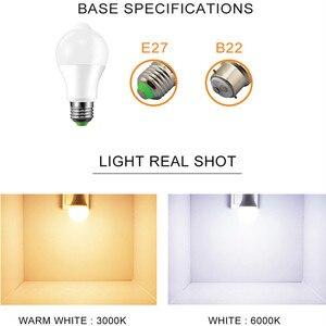 Image 4 - E27 B22 Smart Led lampen Licht 220V 110V motion Sensor 12W 18W LED Lampe Körper induktion auto turn on/off mit PIR motion detection