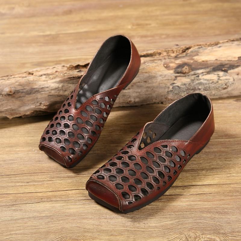 La Main Carrée Vache À Femmes Chaussures Plat Faits De Été Baotou Profonde Plates Creux Peau 2019 Fond Tête Sandales Confortable Peu nCtqIgC4R
