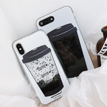 For iPhone X Phone Case Coffee Cup Liquid Quicksand Silicone Cover For iPhone 8 Plus 7 Plus 6 6S Plus Phone bag for iphone x 6 6s 7 8 plus case fashion girl chat page coffee cup liquid quicksand silicone cover for iphone 8 plus phone bag