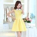 Mulheres primavera dress impressão turn-down collar mangas 2017 jacquard tornar colete vestidos de céu azul amarelo 5817