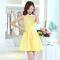 Spring Women dress Print Turn-down Collar Sleeveless 2017 Jacquard Render Vest Dresses Sky Blue Yellow 5817