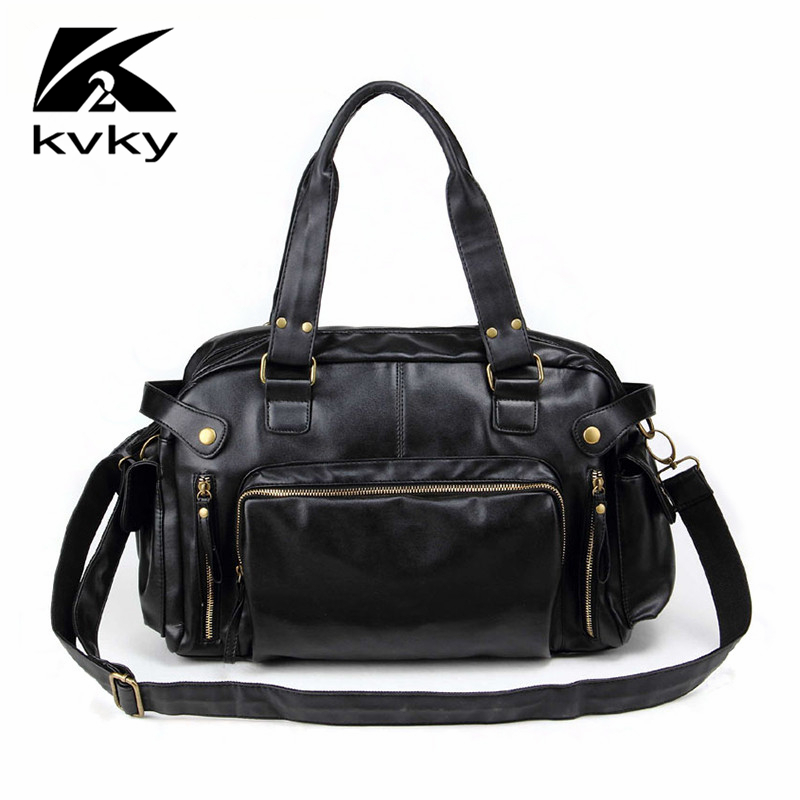 KVKY Casual Men Messenger Bags Soft PU Leather Designer Handbags Hign Quality Men Shoulder Bag Large Capacity Men Travel Bags