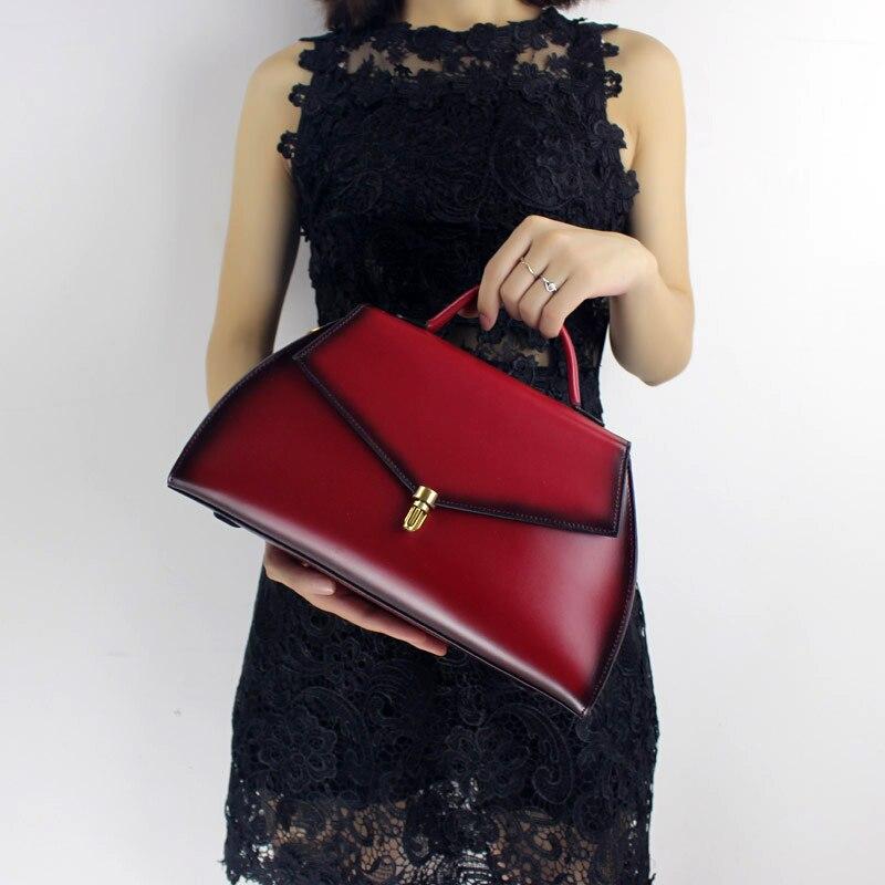 Genuine Leather Women Handbag 2019 Ladies Top Handle Bag Handmade Cowhide Shoulder Sling Bag Elegant Messenger
