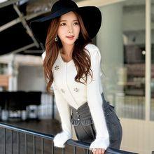 knitted cardigan coat female dabuwawa 2016 autumn and winter new slim manual diamond white sweater cardigans women