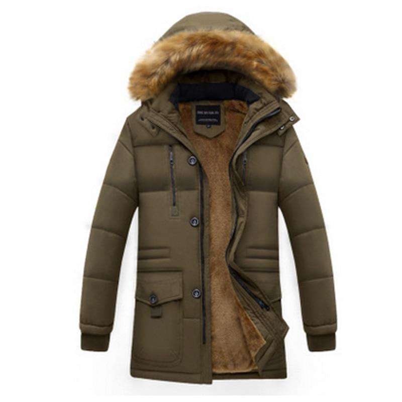 Новые модные зимние длинные хлопковый костюм мужчин плюс бархатные толстые теплые пальто среднего возраста папа носить свободные с капюшо... - 6