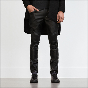 Men's New Dj Fashion Clothing Male Slim American Locomotive Super Cool Leather Pants Trousers Singer Costumes