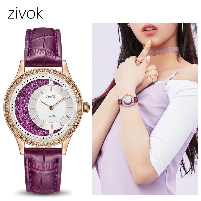 Zivok luxe femmes montres Relogio Feminino mode cuir dames amoureux Quartz montre horloge femmes heure violet Couple montre-bracelet