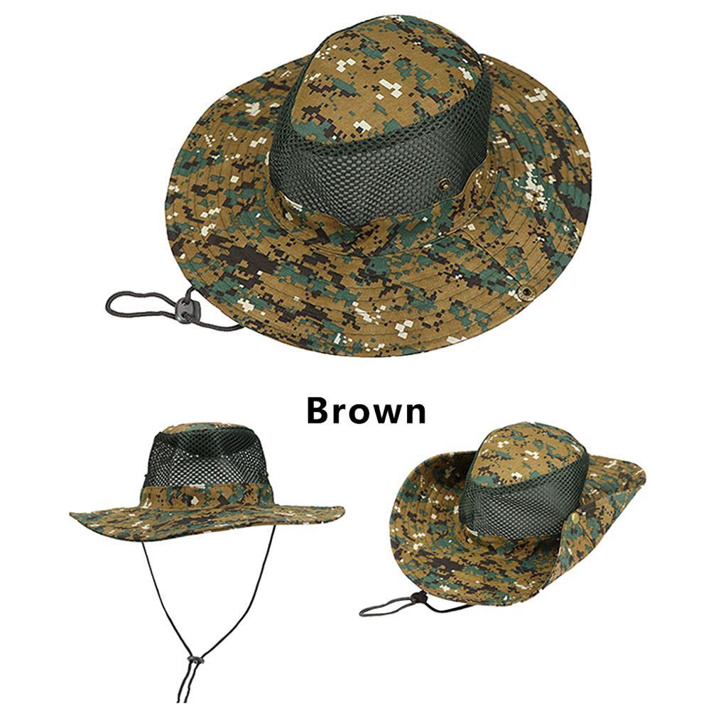 Deportes al aire libre hombres y mujeres sombrero de pesca sombrero del  cubo del camuflaje pescador Camo Ripstop Jungle Bush sombreros Boonie ala  ancha sun ... 3f68d06cad5