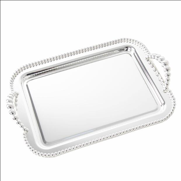 Unique 42x28cm rectangle metal silver plated serving tray for cake pastry  QM15