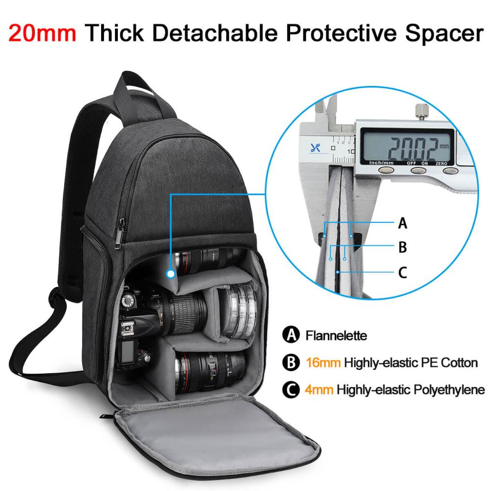 Image 4 - CADeN Photo Camera Sling Bag Shoulder Cross Digital Case Waterproof Rain Cover DSLR Soft Men Women Bag for Canon Nikon Sony SLR-in Camera/Video Bags from Consumer Electronics