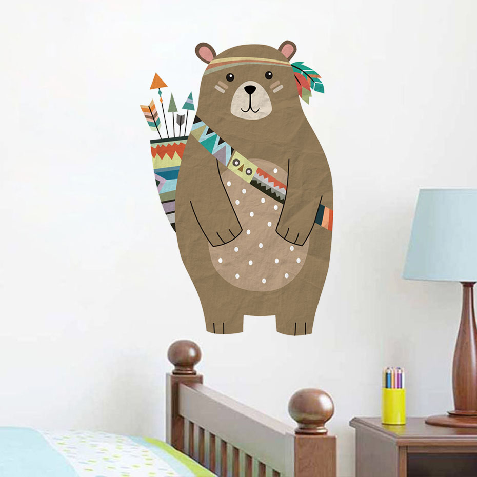 Us 3 69 26 Off Cute Tribal Bear Wall Sticker Removable Pvc Cartoon Stickers Diy Nursery Art For Baby Kid Room Vintage Home Decor In