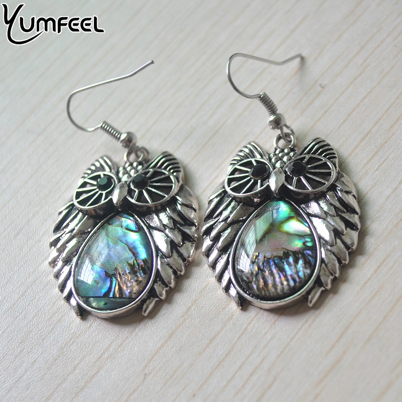 Yumfeel New Fashion Jewelry Natural Shell Owl Earrings for Woman E1666 Brincos Jewelry
