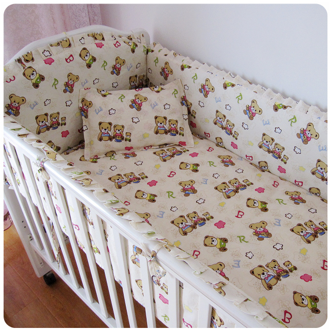 Promotion! 6PCS Bear Cot Bed Bedding Sets Baby Bedding Sets,Baby Cot Bedding Sets Sale (bumpers+sheet+pillow cover) стоимость