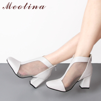 Meotina Women Ankle Boots Autumn Cutout Short Boots Zipper Mesh Sexy Square Toe High Heels Spring Boots White Black Plus Size 11