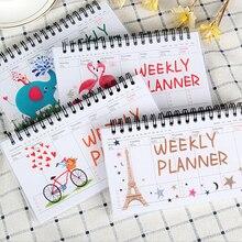 Мультяшный Фламинго слон еженедельник ежедневник записная книжка-органайзер канцелярские принадлежности школьный офис
