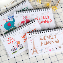Cartoon Flamingo Elephant Weekly Daily Planner Notebook Agenda Organizer Stationery School Office kawaii cartoon weekly planner coil notebook schedule agenda kids gift stationery for school office