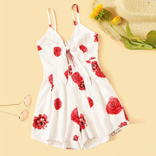 Summer Fresh New Sweet Print Fashion New Sleeveless Strapless Sling Zipper Backless Bow Jumpsuit bodysuit body shein vadim 41*(China)