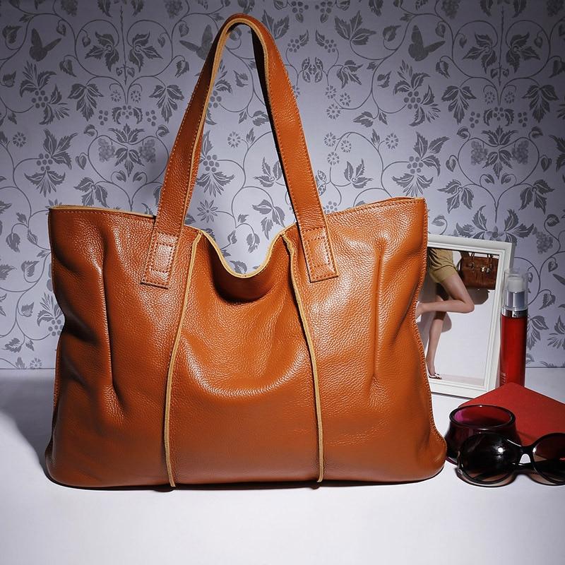 100% Genuine Leather Bag Large Women Leather Handbags Famous Brand Women Tote Bags Big Ladies Shoulder Bag AWM108