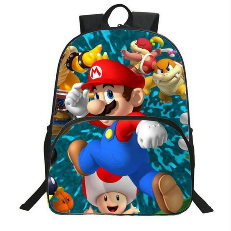 Hot Sale 16 Inches Printing Super Mario Kids School Bags For Teenager Backpack Cartoon Bookbag Children Big Space Schoolbag