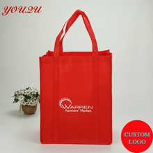 Custom non woven bags with handle sewing to the bottom logo printing both sides