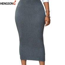 Taille haute Moulante Jupe Pour Femmes Mi-veau Casual Jupe Office Lady OL  Jupe Solide Noir Gris Vert Maxi jupe NQ906350 4dd0d4e7d8c1
