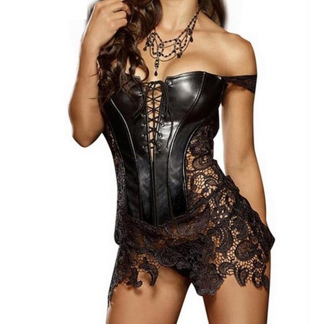 Hot Club Vestido Atractivo de Las Mujeres Clubwear Del Tamaño Extra Grande Ahueca Hacia Fuera el Vestido de Corsé de Cuero de Encaje Bordado Cremallera Volver Vestidos