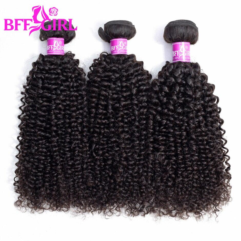 BFF fille brésilienne crépus bouclés cheveux paquets 100% cheveux humains 1/3/4 paquets couleur naturelle Jerry Curl Remy cheveux tisse des Extensions