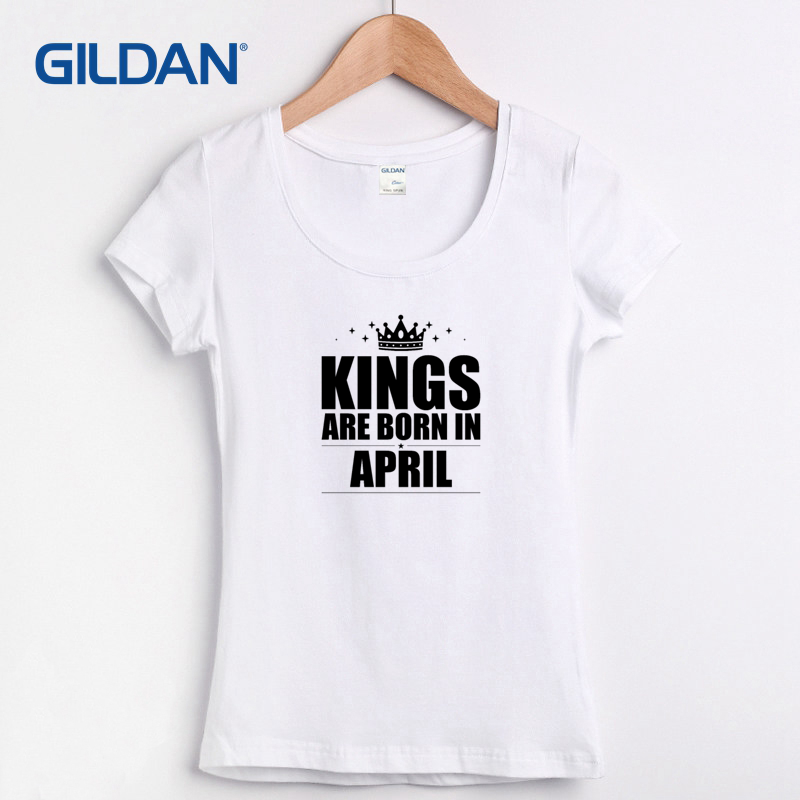 5e16ffaf Designer womens Tee Shirt 2017 Kings Are Born In April Birthday Design T  Shirt Online Hip Branded T-Shirt For women Clothes