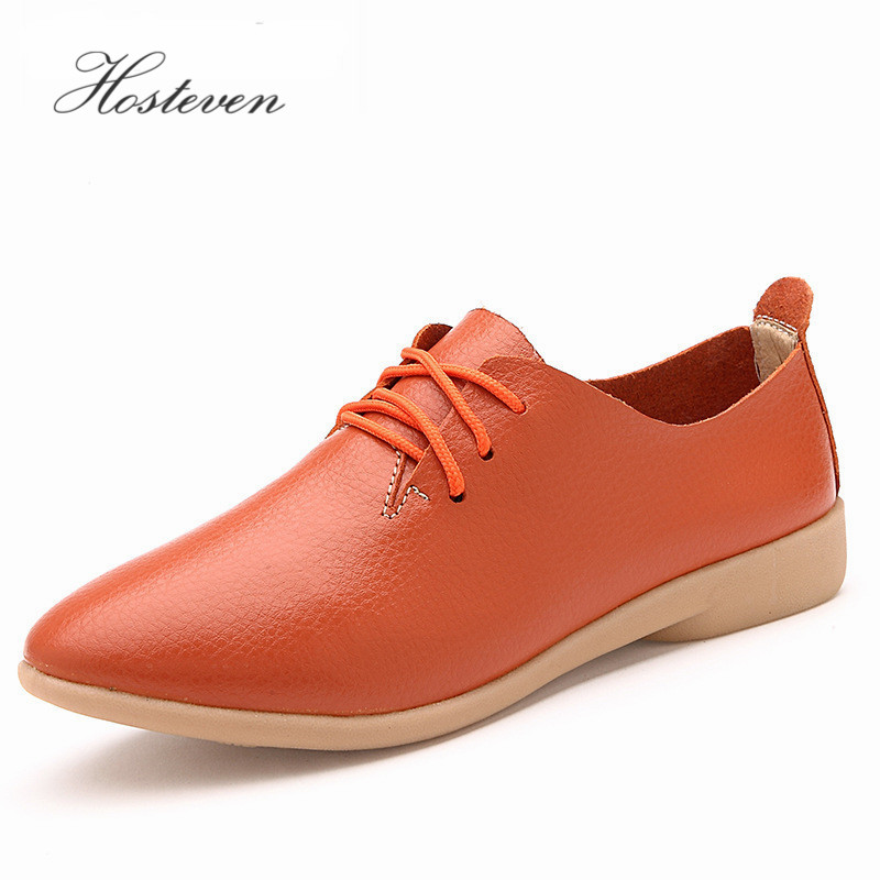 Women's Shoes Soft Genuine Leather Flats Fashion Casual Woman Driving Loafers Moccasins Shoes Large Size 35-44