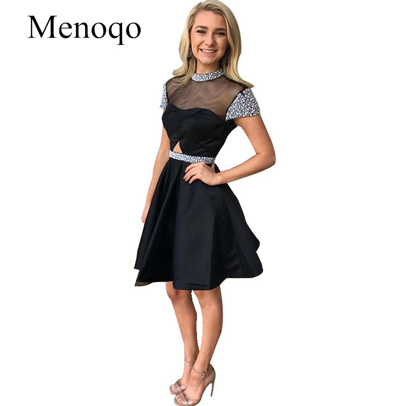 Short Black   Cocktail     Dresses   Beaded High Neck Cap Sleeves Junior Prom   Dress   Open Back Young Girls Summer Party Gown