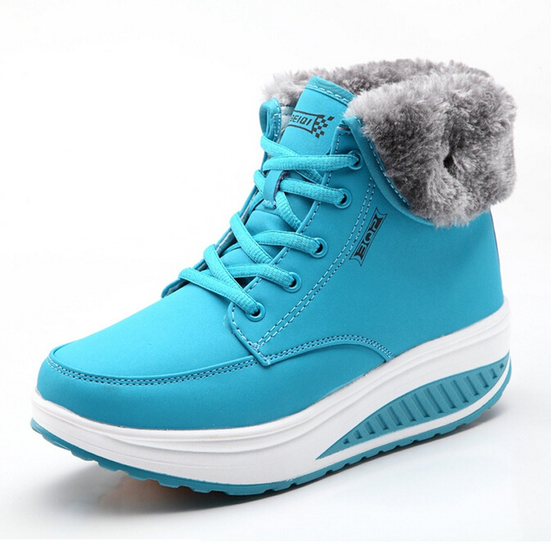 Women Snow boots Wedges Ankle Boots Fashion Slimming Swing Shoes Plush Solid Round Toe Platform Shoes